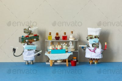 Medic robots holds a tubes with a stick for scraping PCR and blood test.