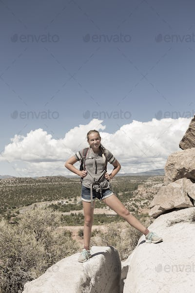 12 year old girl hiking in Tsankawi Runis, NM.