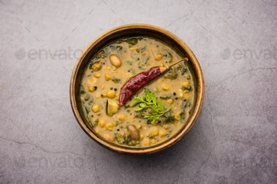 Dal Palak or Lentil spinach curry - popular Indian main course healthy recipe