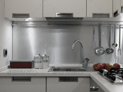Close-Up of Kitchen Worktop and the Sink