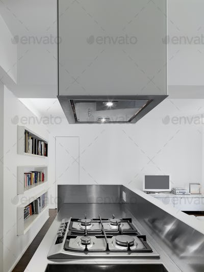 Close-Up of a Gas Hob in the Modern Kitchen Interior