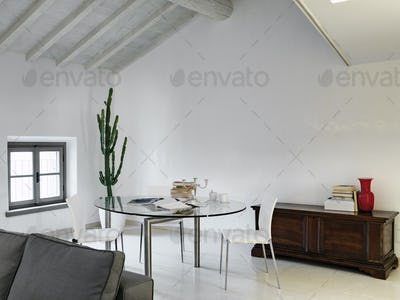Modern Living Room Interior in the Attic Room