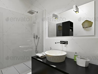 Close_up of a Countertop Washbasin in the Modern Bathroom Interior