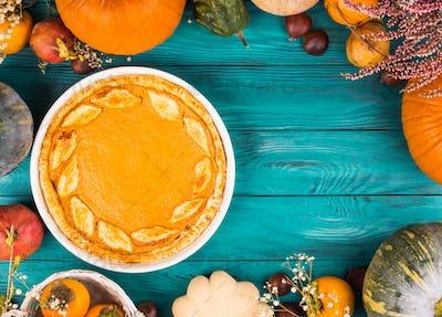 Autumn dark thanksgiving background with pumpkin