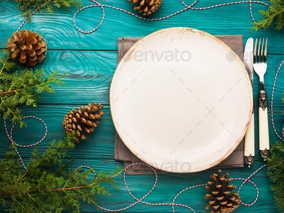 Christmas background with dish and cutlery