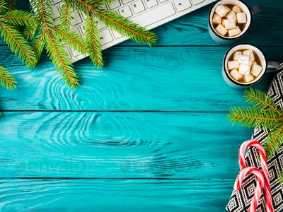 Christmas background with hot chocolate keyboard