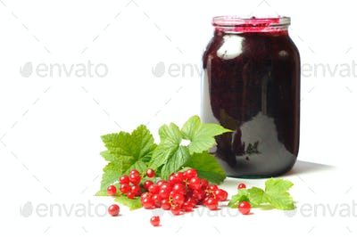 Health-giving vitamin, red currant on the white background