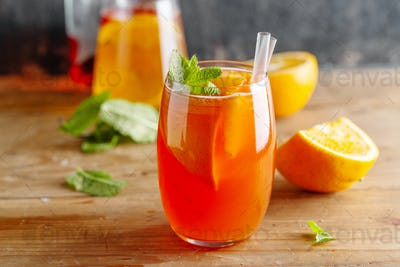 Freshmade cocktail with oranges and mint
