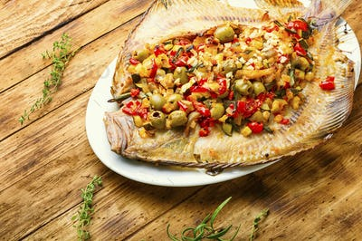 Baked plaice stuffed with vegetables