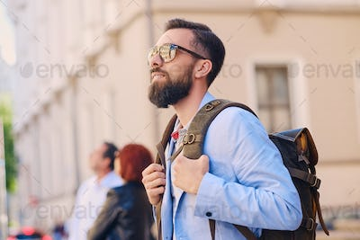 The stylish bearded male