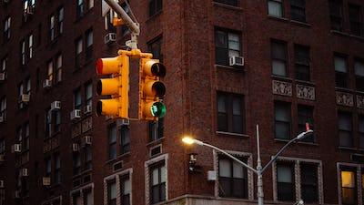 Traffic light on the street in New York
