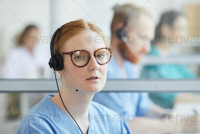Operator working in call center