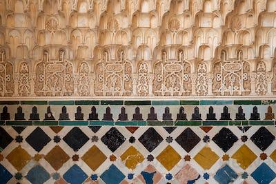 Arabic patterns inside Alhambra