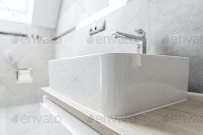 Classic White Rectangle Bathroom Vessel Sink with Chromed Faucet