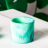 New Marbled geometric succulent planters, turquoise blue