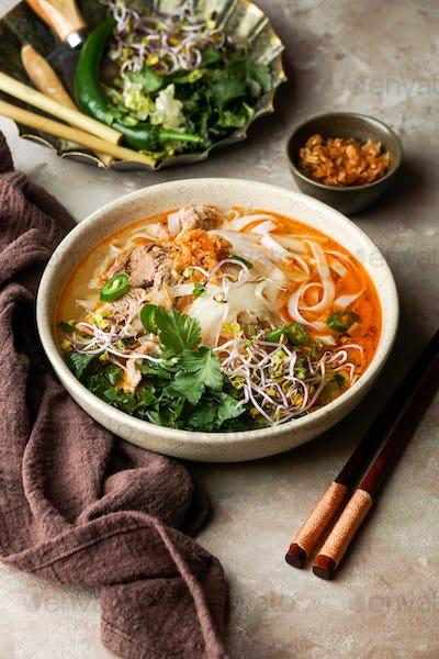 Bun Bo Hue, Bun Bo, Vietnamese bowl of beef and rice vermicelli soup,