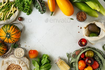Various vegetables, fruits and grains in reusable bags