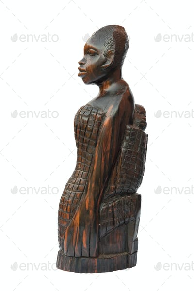 african woman with child statuette