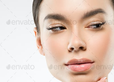 Asian beauty woman clean skin face portrait. Young female model asia natural make up