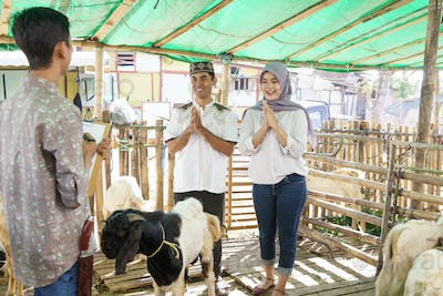 muslim couple at animal trade farm buying a goat