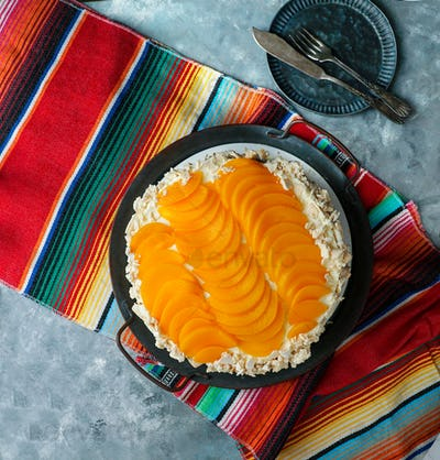 Uruguayan cake chaja: the famous cake from Uruguay, whipped cream, peaches