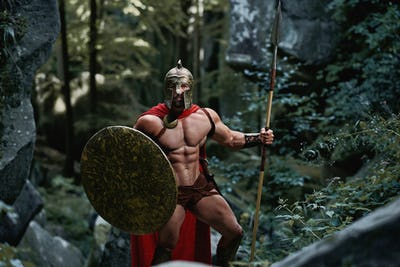 Spartan warrior in the woods