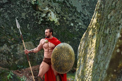 Mature Spartan warrior in the woods