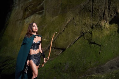 Mature Amazon warrior in the woods