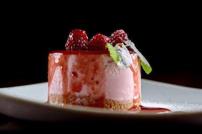 Tasty raspberry souffle with mint