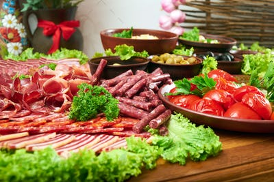 Delicious food on the wooden table