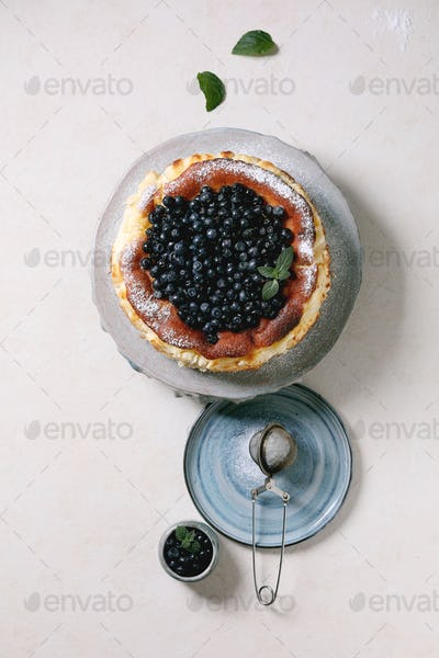 Blueberry soft cheese cake