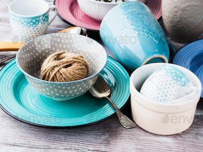 Ceramic crockery on wooden background