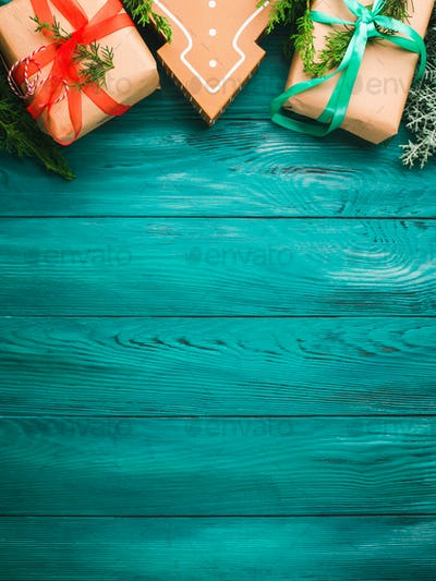 Christmas gift boxes on green background