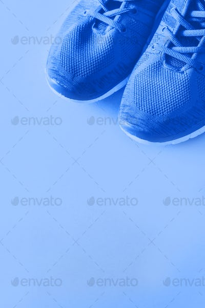 Classic blue 2020 trainer on monochrome background