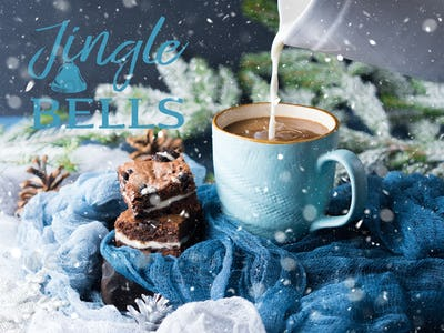 Christmas Greeting card with coffee and brownies