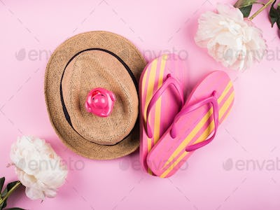 Summer sea vacation concept on pink