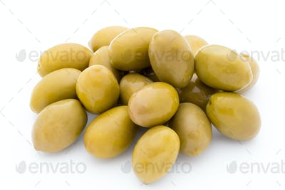 Green big olives on the white background.