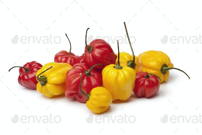 Yellow and red Scotch bonnet chili peppers