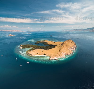 Lone standing island. Aerial drone shot. Indonesia
