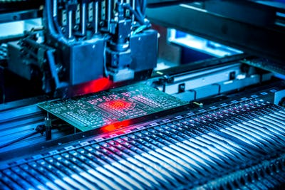 Electronic circuit under surface-mounting machine