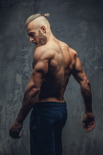 Muscular guy from back