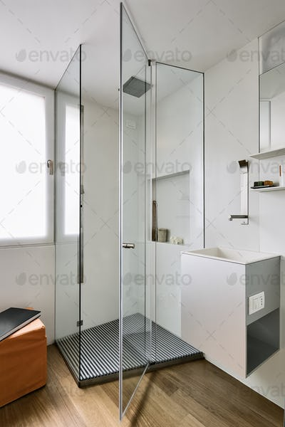 Close-Up on the Glass Shower Box in the Modern Bathroom with Wooden Floor