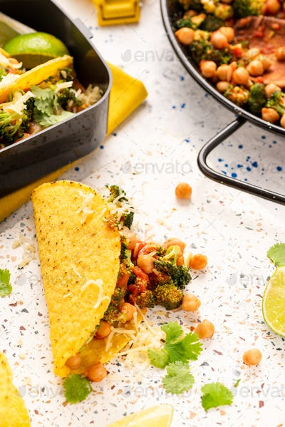 Mexican Vegetarian Taco with Broccoli. Take Away Lunchbox Brunch