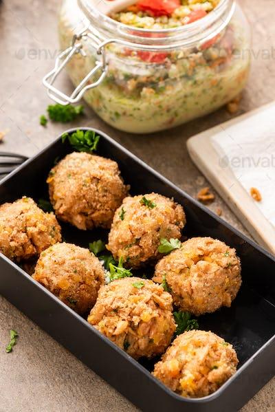 Vegetarial Falafel Balls in Lunch Box. Healthy Take Away Brunch Idea