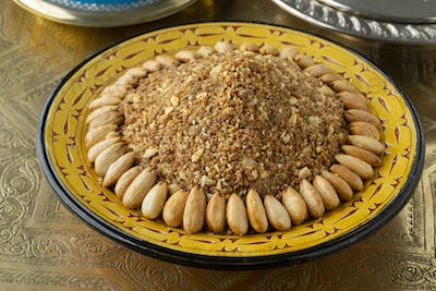 Dish with traditional Moroccan homemade sellou