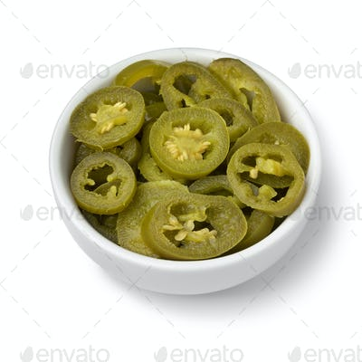 Bowl with pickled jalapeno peppers