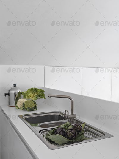 Some Vegetables on the steel worktop in the Modern Kitchen