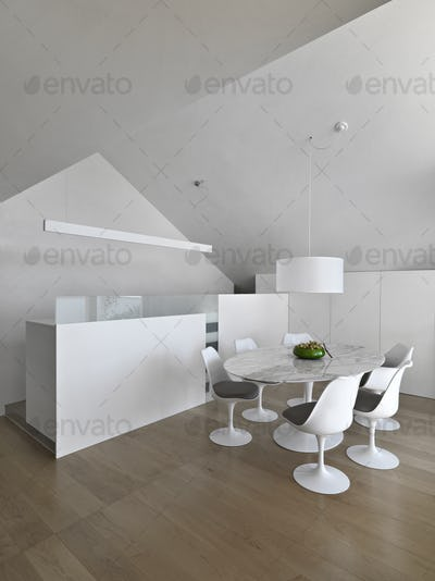 Modern Dining Room and Kitchen Interior with Dining Table and Wooden Floor in the Attic