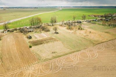 Belarus. Aerial View Of Belarusian Village. Beautiful Rural Landscape In Bird's-eye View