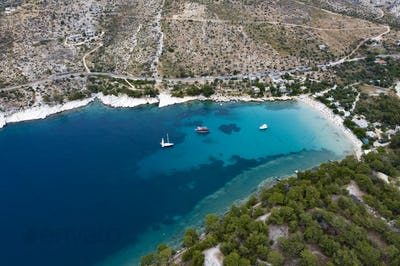 Aerial view of the turquoise sea near Thassos, Greece.